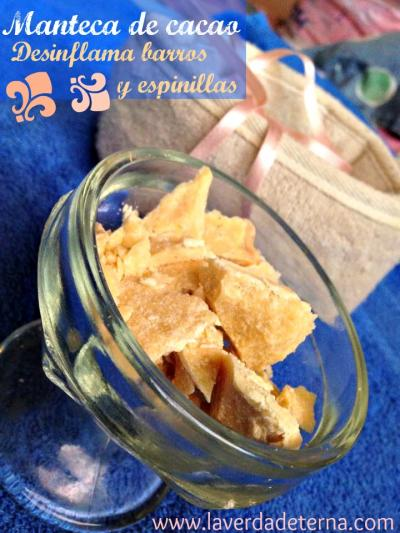 Manteca de cacao para barros y espinillas.